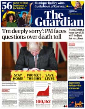 Guardian front page, Wednesday 27 January 2021
