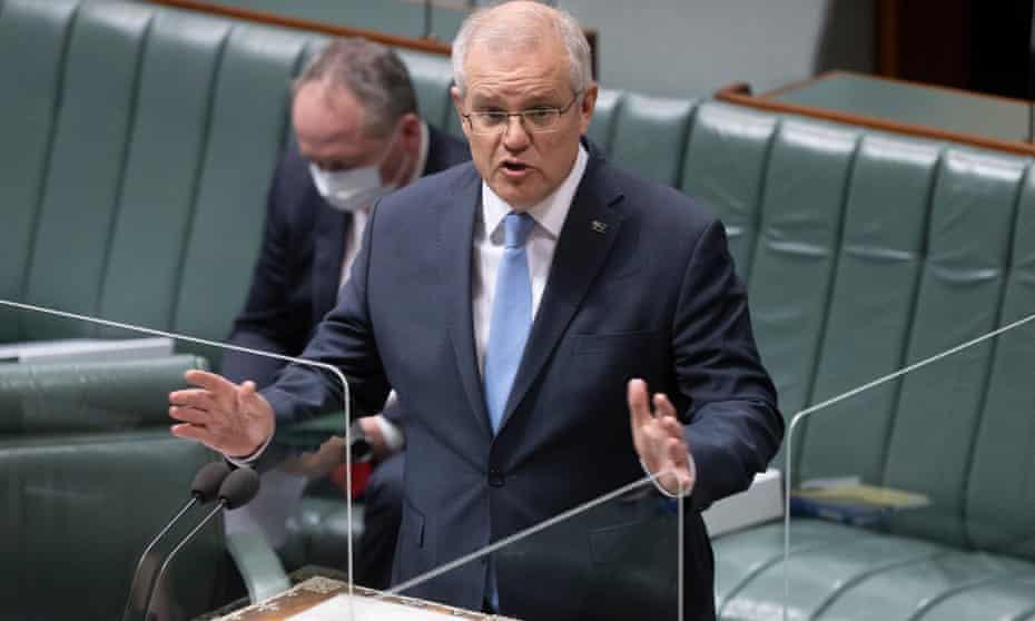 Australian prime minister Scott Morrison speaks in parliament