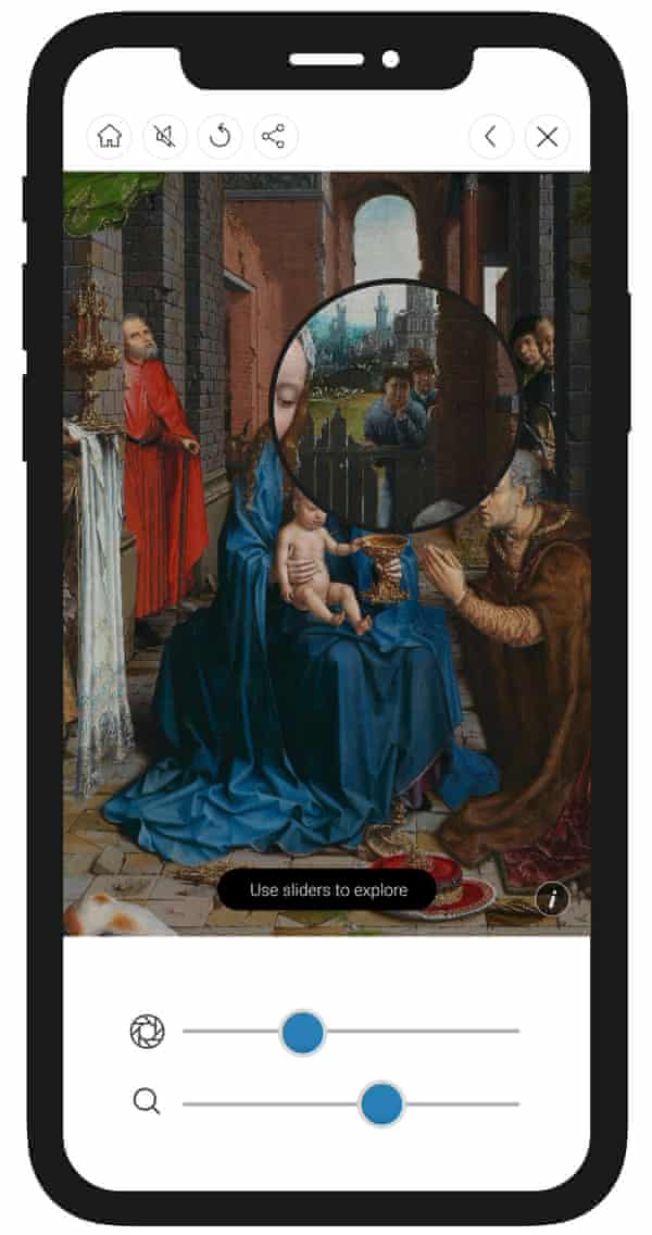 An image showing how smartphone users will be able to examine the painting