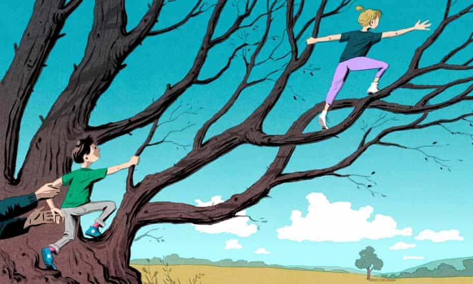 Illustration by Bill Bragg of children climbing a tree.