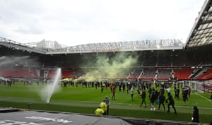 Some protesters entered Old Trafford and made it onto the pitch.
