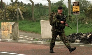 A soldier patrolling the border between Northern Ireland and the Republic of Ireland in 1998