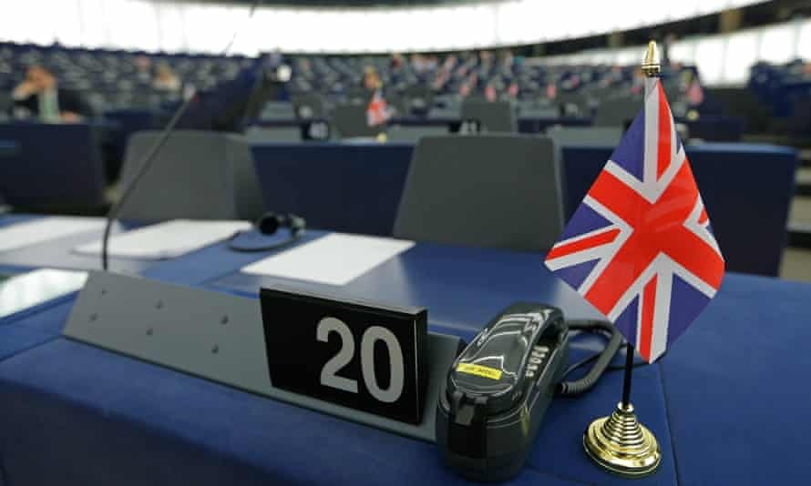 A British Union Jack flag on a desk at the European parliament in Strasbourg