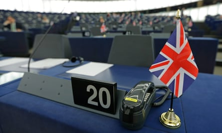 Desk of Nigel Farage at the European parliament in Strasbourg