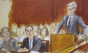 In this courtroom sketch, Michael Cohen, second from left, listens as his attorney Guy Petrillo, right, addresses the court.