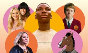 Clockwise from top left: Strictly Come Dancing, Black Earth Rising, American Vandal, BoJack Horseman, and No Offence