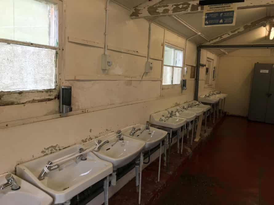 A wash room at the Napier Barracks.