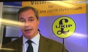 Screen grab of misspelt constituency behind Nigel Farage Ukip poster