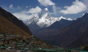 Ama Dablam looms behind Khumjung village in Nepal