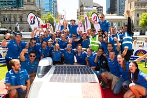 Members from Agoria Solar Team from Belgium celebrate after winning on day five at Victoria Square in Adelaide