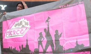 Activists rally in front of the Barclay's Center in downtown Brooklyn, New York, to protest against unaddressed violence against trans women of color as part of a nationwide Trans Liberation Tuesday.