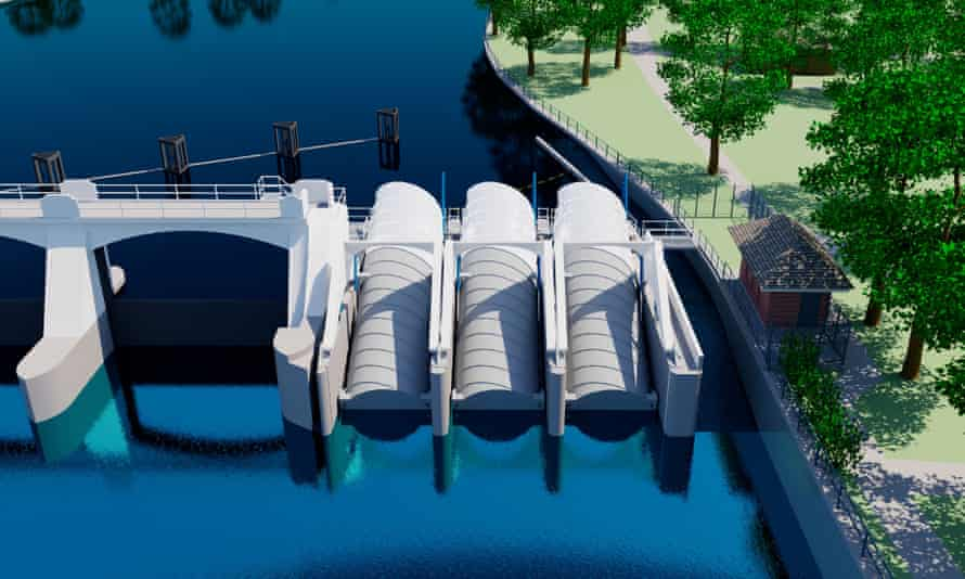 A computer simulated model of the Teddington and Ham hydro project