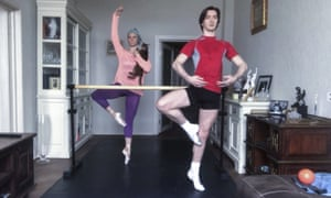 Maria Alexandrova and Vladislav Lantratov, Russian dancers from the Bolshoi Ballet, participate in online training with their ballet partners in Moscow.
