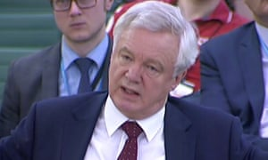 David Davis, secretary of state for exiting the European Union, giving evidence to the Commons exiting the European Union committee.