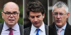 City Link redundancy court case: (left to right) Robert Peto, Thomas Wright and David Smith