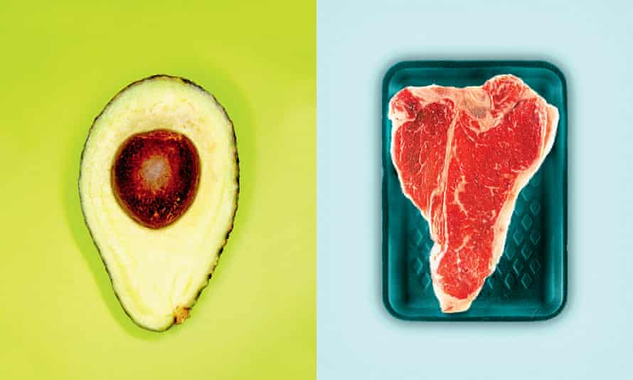 avocado and beef steak