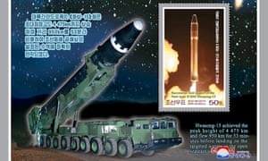 A North Korean stamp issued to commemorate the test-launch of the new type of intercontinental ballistic rocket, Hwasong-15.