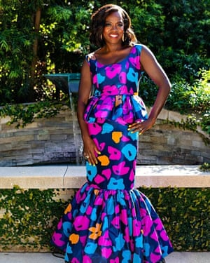 Viola Davis, winner of outstanding actress in a drama series and outstanding actress in a motion picture, wears a dress by Duro Olowu