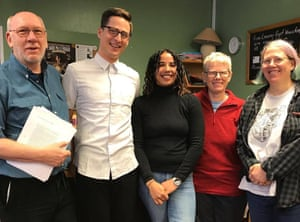 Leah Wilkins (centre) with staff at Five Leaves Bookshop, Nottingham