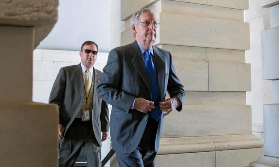 US Senate majority leader Mitch McConnell arrives at Capitol Hill.