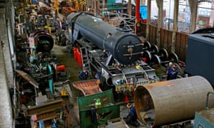 Restoration work being carried out on Flying Scotsman at Riley & Son locomotive works in Bury, Greater Manchester.