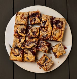 Meera Sodha's blondies with peanut butter, jam and chocolate