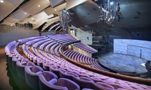 Interior of the Olivier Theatre auditorium in London's National Theatre.