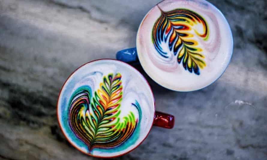 True artistry … rainbow lattes.