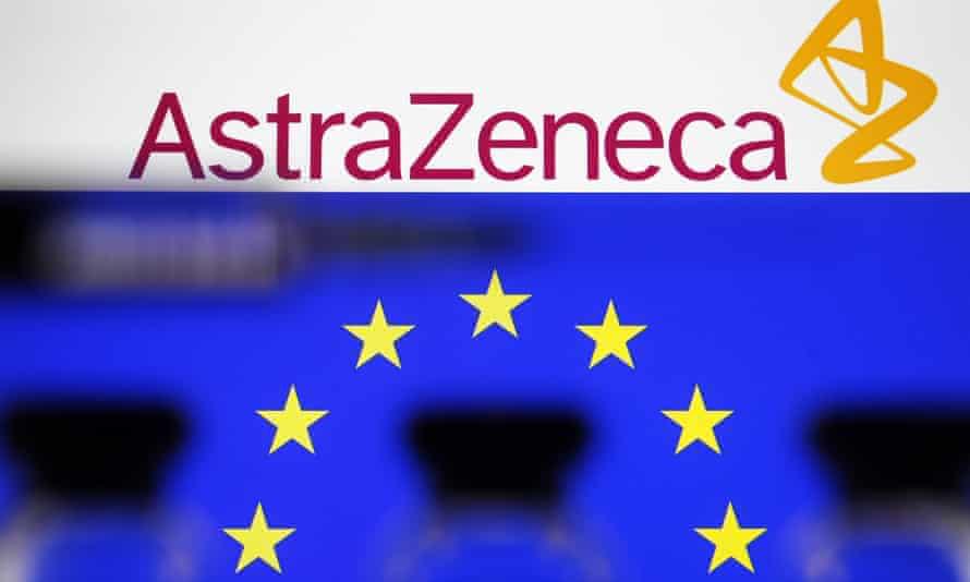 AstraZeneca logo and EU flag