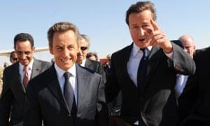 David Cameron and Nicolas Sarkozy in Benghazi, Libya