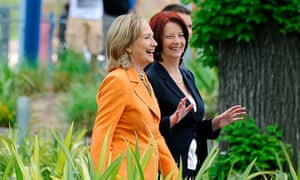 Julia Gillard and Hillary Clinton in 2010. The former Australian prime minister has thrown her support behind Clinton's campaign for presidency in the 2016 election.