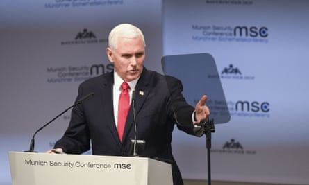 US vice-president Mike Pence gives his speech at the Munich security conference.