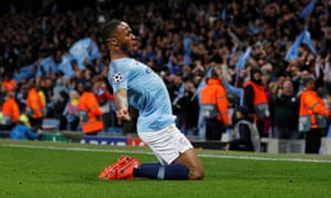 Manchester City's Raheem Sterling celebrates the late goal against Tottenham that was ruled out after a VAR review.