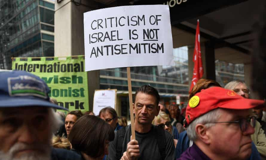 Protesters outside the Labour party headquarters in London on Tuesday