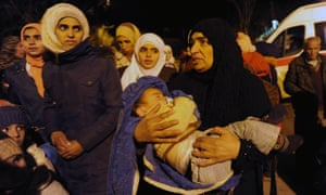Residents of Madaya waiting for aid, January 2016