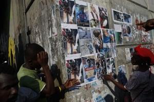 Protesters in Por-au-Prince, Haiti