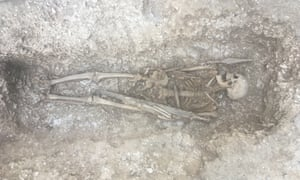The skeleton of a 6th century warrior in his grave.
