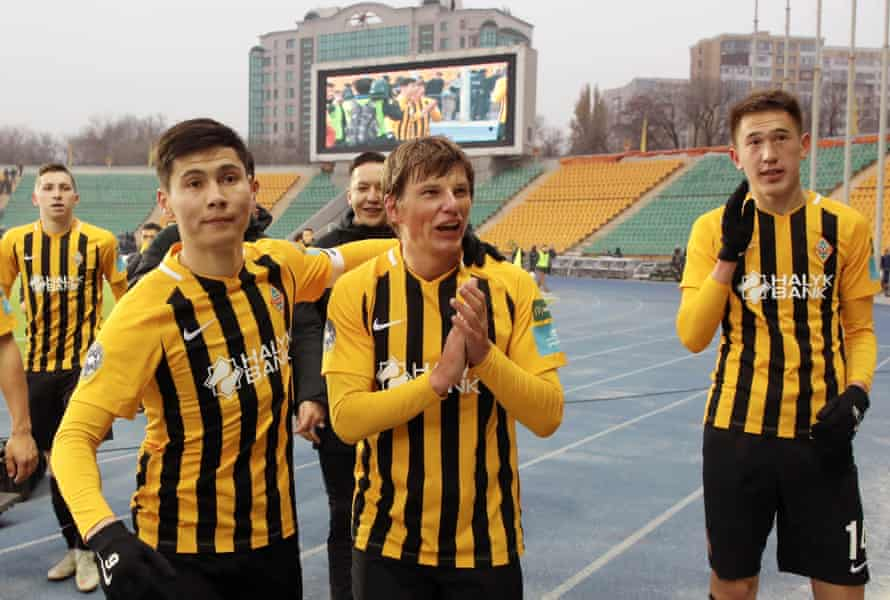 Andrey Arshavin reacts after his farewell match for Kairat Almaty against Shakhtar Karagandy.