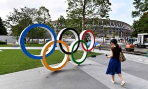 The Olympic rings are displayed at the Olympic Square next to the National Stadium in Tokyo.