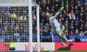 Leicester City keeper Kasper Schmeichel is beaten by Antonio Ruediger for Chelsea's second goal.