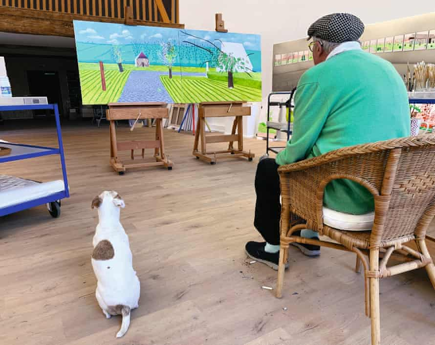 Hockney with Ruby in his studio in Normandy, 25 May 2020.