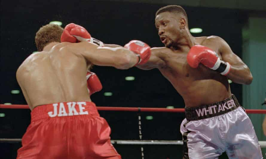 Pernell 'Sweet Pea' Whitaker delivering a right to the head of Jake Rodríguez during a bout in Atlantic City, New Jersey, in 1995.