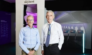 Air NZ's Kerry Reeves and Greg Foran outside the Skynest prototype. The new Air NZ 'Skynest' sleep pods.