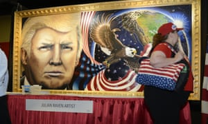 Artist Julian Raven's portrait of Donald Trump at the Conservative Political Action Conference (CPAC).