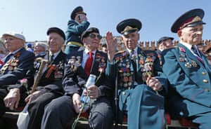 War veterans watch the events at the Victory Day parade in Red Square