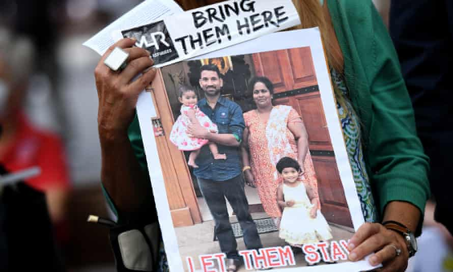 A Sydney vigil in support of the detained Tamil family from Biloela who have been held in detention on Christmas Island for the past three years