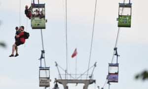 Members of the fire service rescue people from cable car gondolas, in Cologne, Germany