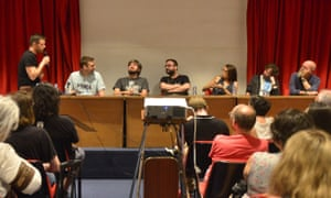 The game design panel at the Celsius 232 festival. From left: festival organiser Diego García Cruz, Keith Stuart, Jakub Szamałek, Spanish game designer Ángel Luis Sucasas, Margaret Stohl, Tom Jubert and Dan Abnett.