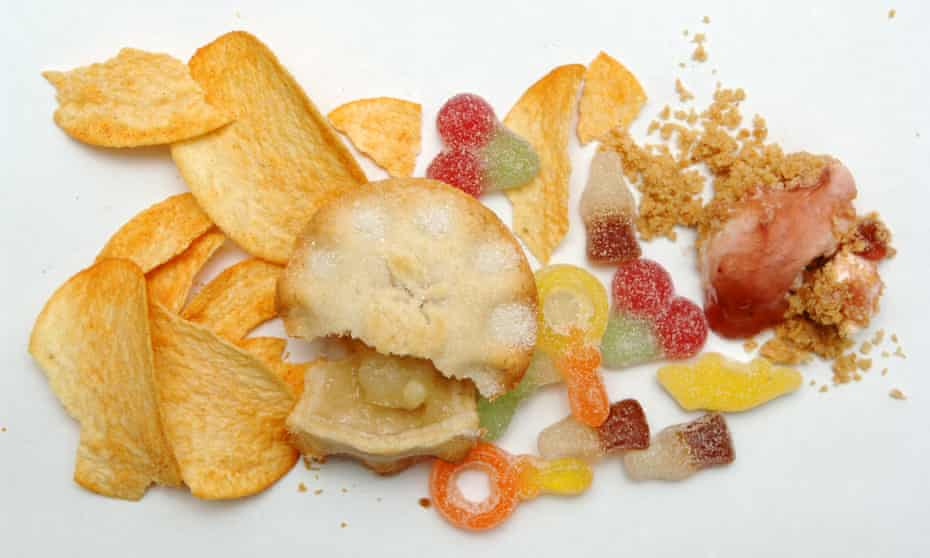 An assemblage of junk food