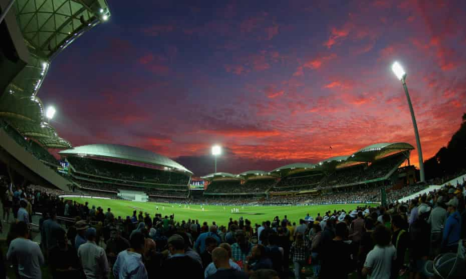 Australia v New Zealand under lights at the Adelaide Oval, in the first day-night Test match.
